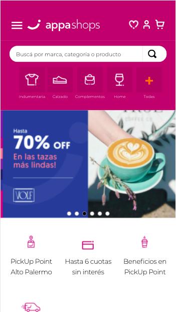 Pantallas de navegación del Sitio Appa Shops